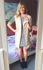 Uptown Beige Sleeveless Jacket