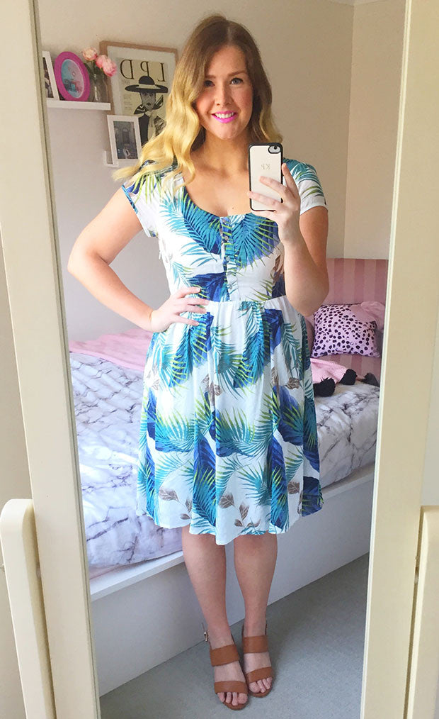 Veronica Green Print Dress