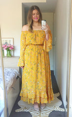 Whimsy Yellow Floral Maxi Dress