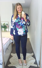 Ebony Navy Floral Blouse