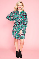 Carly Green Leopard Shirt Dress