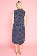 Fiona Navy Spots Shirt Dress