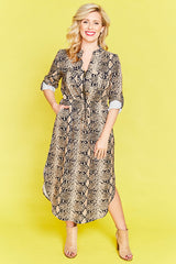 Miranda Snake Print Shirt Dress