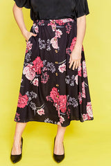 Kylie Black Floral Skirt
