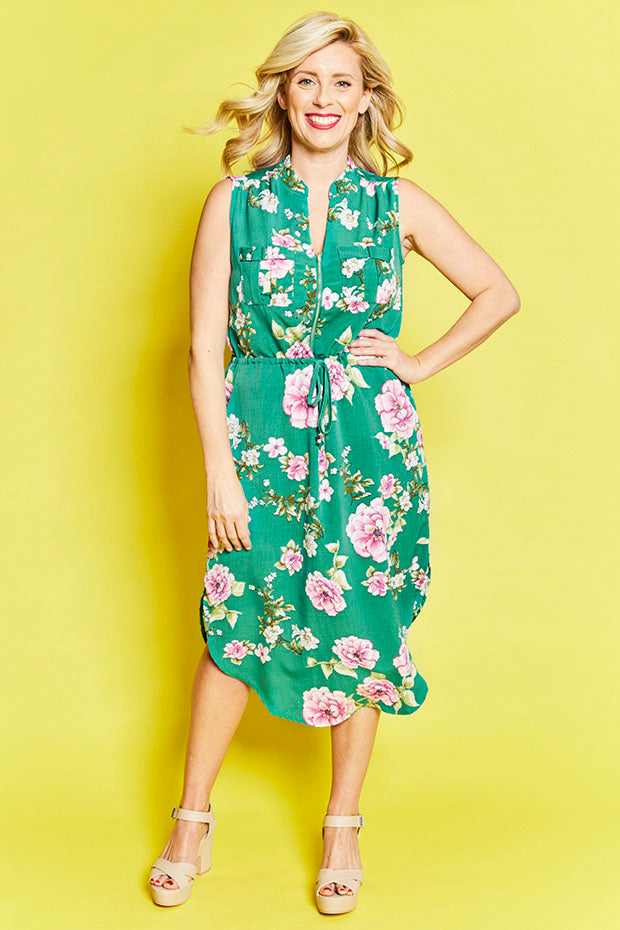 Fiona Green Floral Shirt Dress