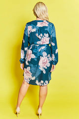 Carly Navy Floral Shirt Dress