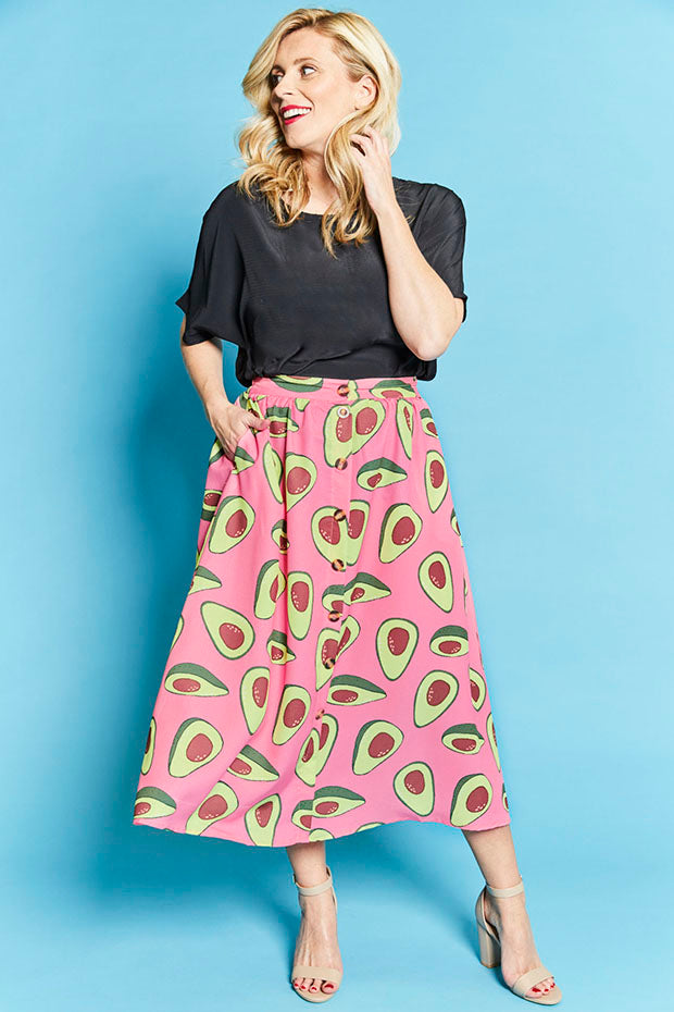Kylie Avocado Print Skirt