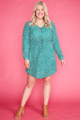 Chelsea Green Spots Shirt Dress