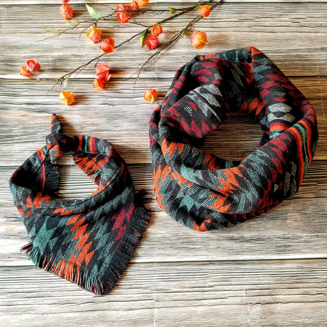 Fringe Bandana and Infinity Scarf Set - Aztec Sunset