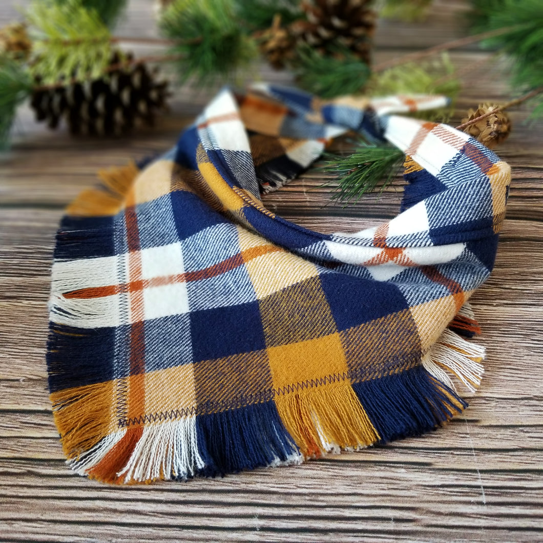 Blue Ridge Plaid - Fringe Bandana