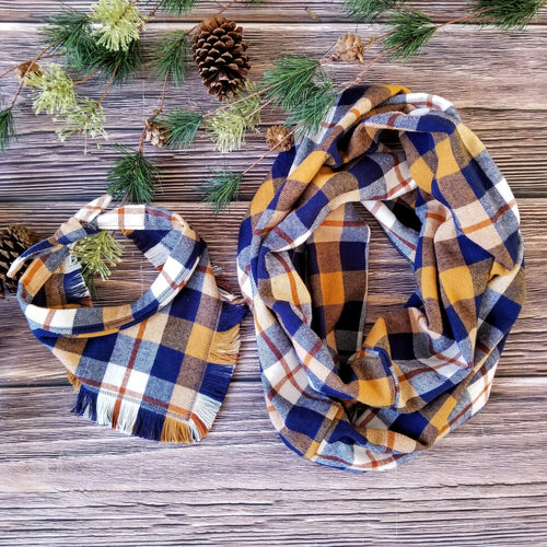 Fringe Bandana and Infinity Scarf Set - Blue Ridge Plaid