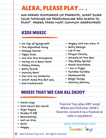 Printable of songs to ask Alexa to play