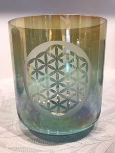 8 D-15 Aqua Aura Gold w/ Grandmother Rim and Etched Flower of Life Super Grade Bowl 65809
