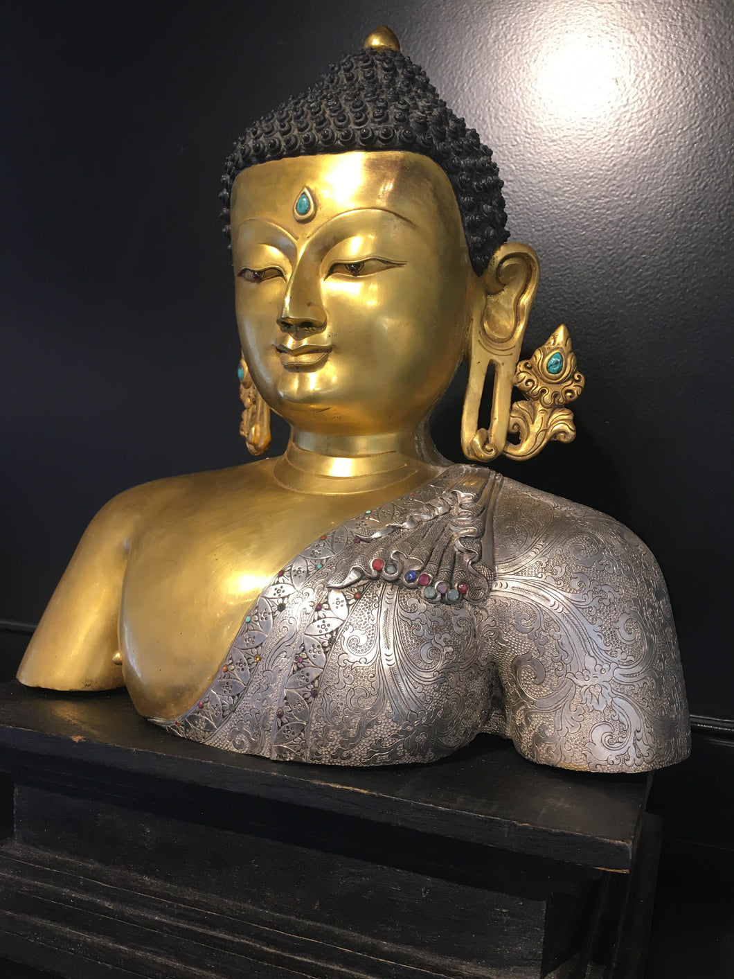 Buddha; Silver/Gold burnished w/ precious gems (10/14 #2)