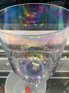 "9"" E -20 Platinum, And St. Germain Aura ( Base ) W/ Etched Butterfly Tall Super Grade Bowl 63714"