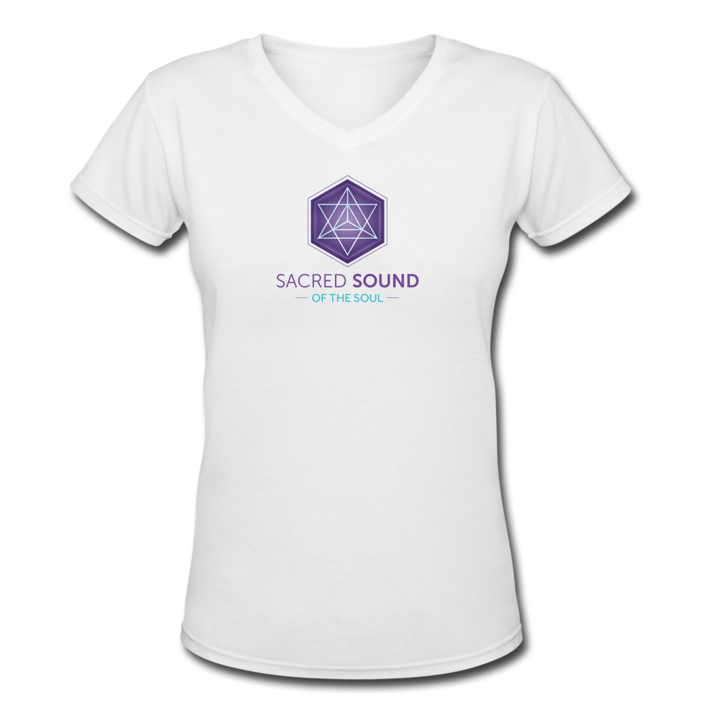 SSS Logo Women's V-Neck T-Shirt - white