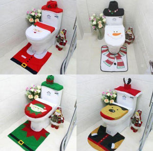 [Soft and comfortable] 3 in 1 Christmas Toilet Seat Cover Set