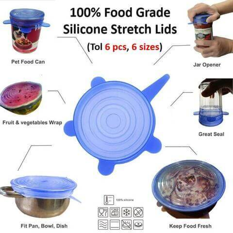 Silicone Stretch Lids (6 pcs) | Fit Various Sizes and Shapes【Buy 1 Get 1 Free】