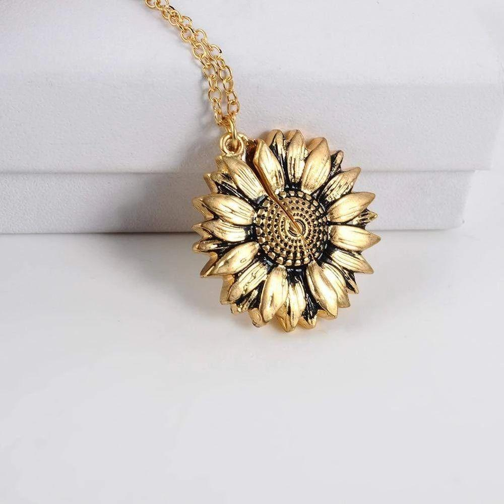Sunflower necklace  engraved love