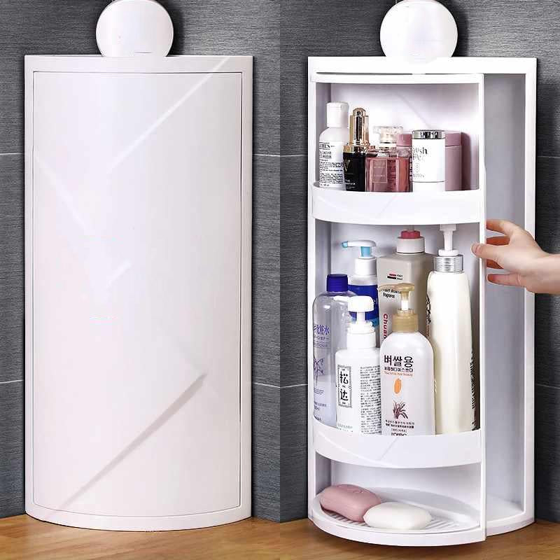 Multi-function Rotating Shelf Bathroom Kitchen Storage Rack Free Punching Suction Wall Large Storage Box Kitchen Organizer