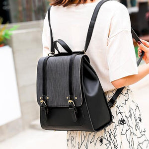 PU Leather Retro Square Backpack