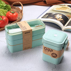 900ml Portable Healthy Material Lunch Box 3 Layer Wheat Straw Bento Boxes Microwave Dinnerware Food Storage Container Foodbox