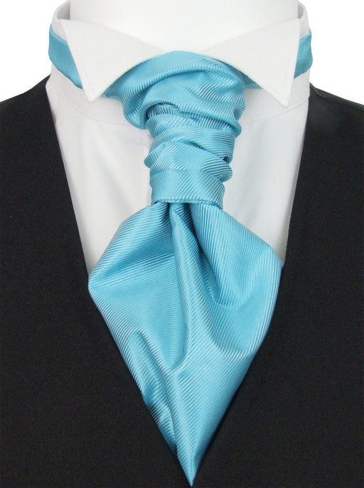 Aquamarine Twill Pre-Tied Wedding Cravat - Wedding