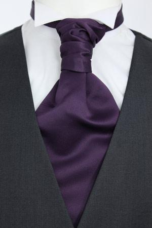 Aubergine Pre-Tied Wedding Cravat - Wedding