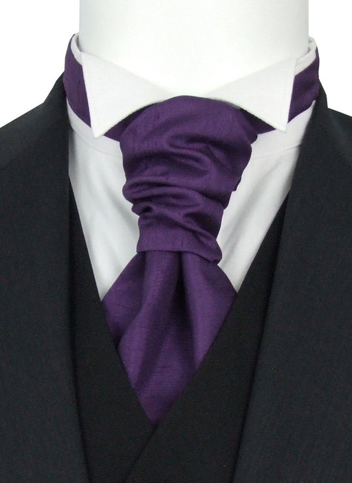 Aubergine Shantung Pre-Tied Wedding Cravat - Wedding