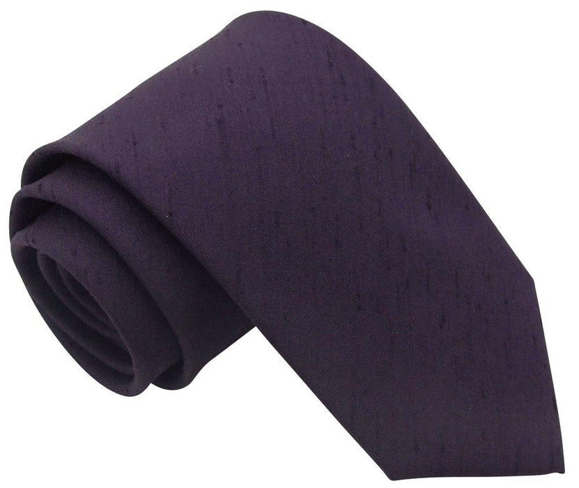 Aubergine Shantung Skinny Wedding Tie - Wedding