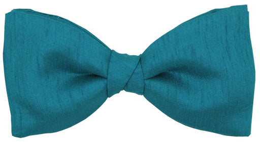 Blue Teal Shantung Bow Tie - Wedding