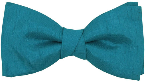 Blue Teal Shantung Boys Bow Tie - Childrenswear