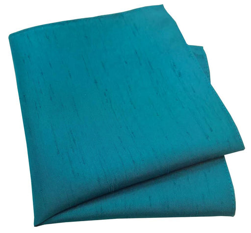 Blue Teal Shantung Pocket Square - Wedding