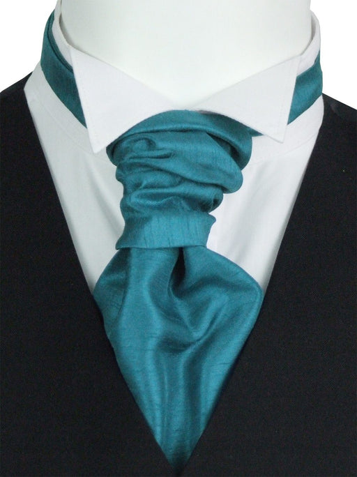 Blue Teal Shantung Pre-Tied Wedding Cravat - Wedding