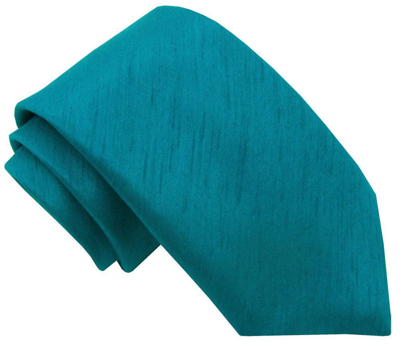 Blue Teal Shantung Wedding Tie - Wedding
