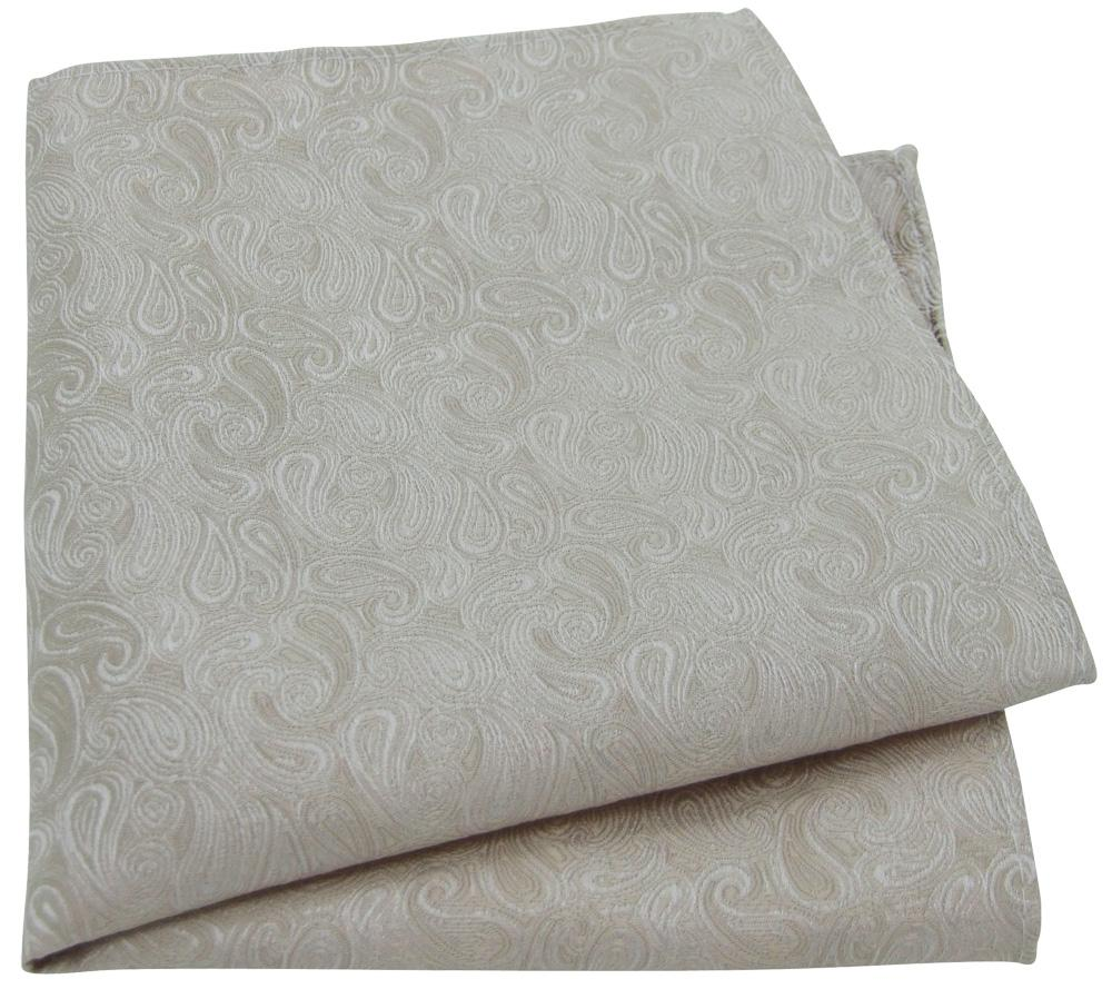 Champagne Paisley Pocket Square - Wedding