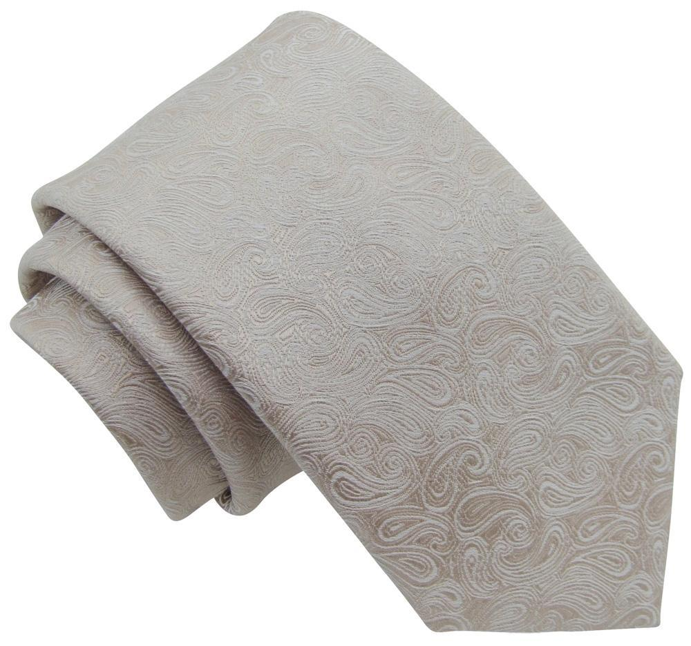 Champagne Paisley Skinny Wedding Tie - Wedding