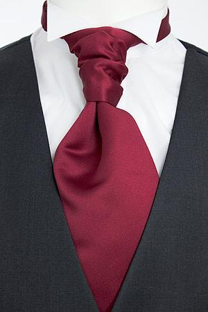 Cherry Red Pre-Tied Wedding Cravat - Wedding
