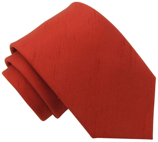 CLEARANCE - Brick Red Shantung Skinny Tie - Clearance