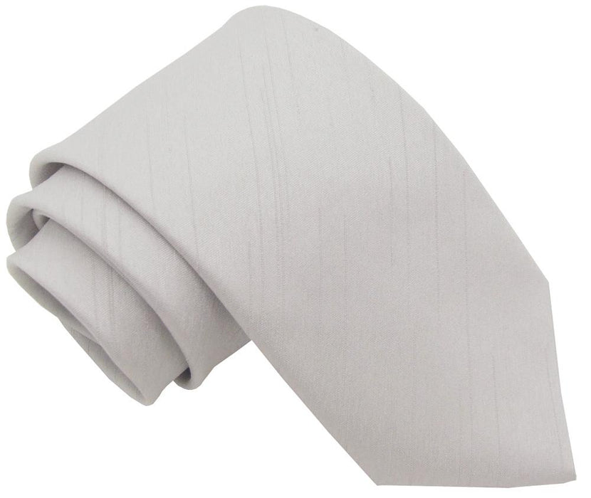 CLEARANCE - Silver Shantung Skinny Tie - Clearance