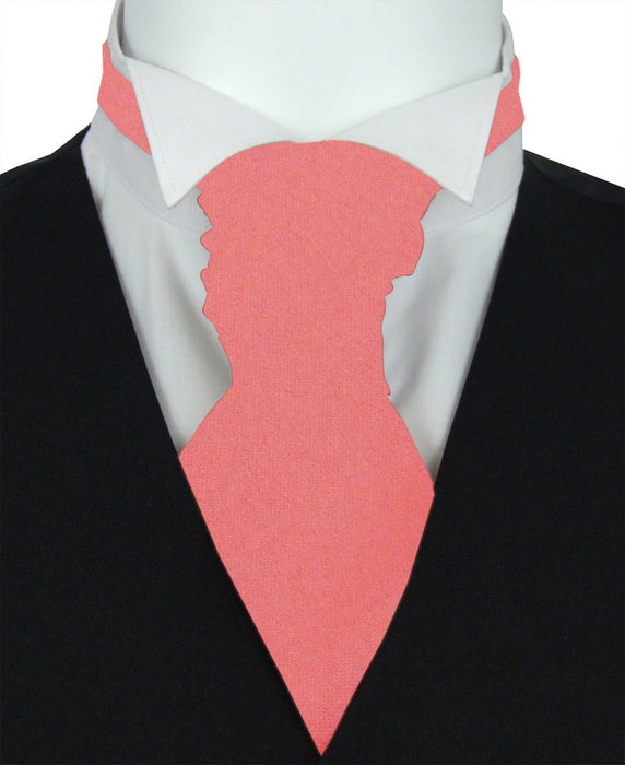 Coral Pink Pre-Tied Wedding Cravat - Wedding