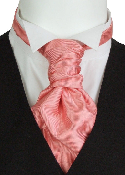 Coral Twill Pre-Tied Wedding Cravat - Wedding