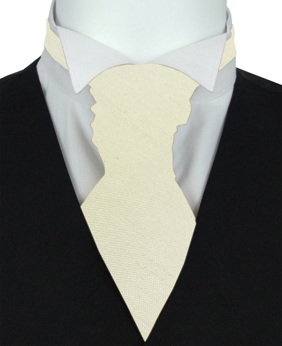 Cream Shantung Pre-Tied Wedding Cravat - Wedding