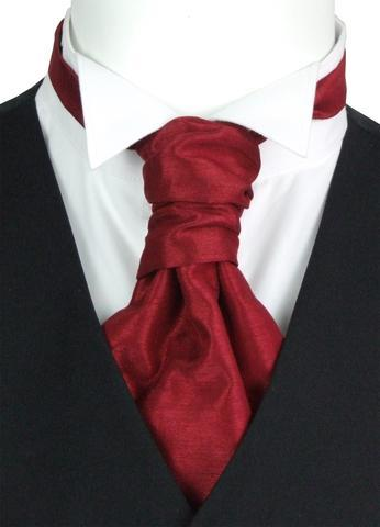 Crimson Shantung Boys Cravat - Childrenswear