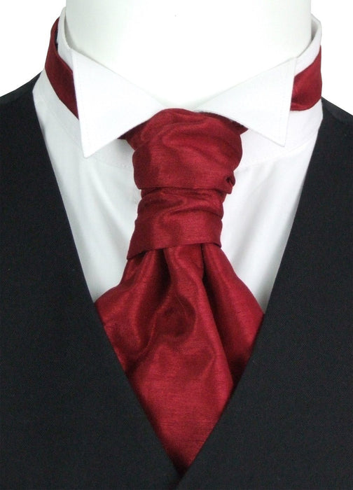 Crimson Shantung Pre-Tied Wedding Cravat - Wedding