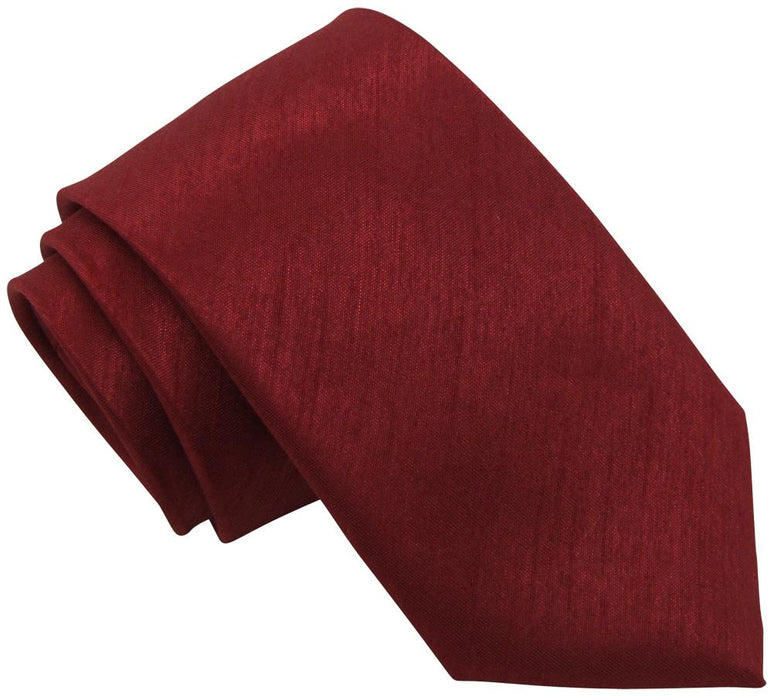Crimson Shantung Skinny Wedding Tie - Wedding