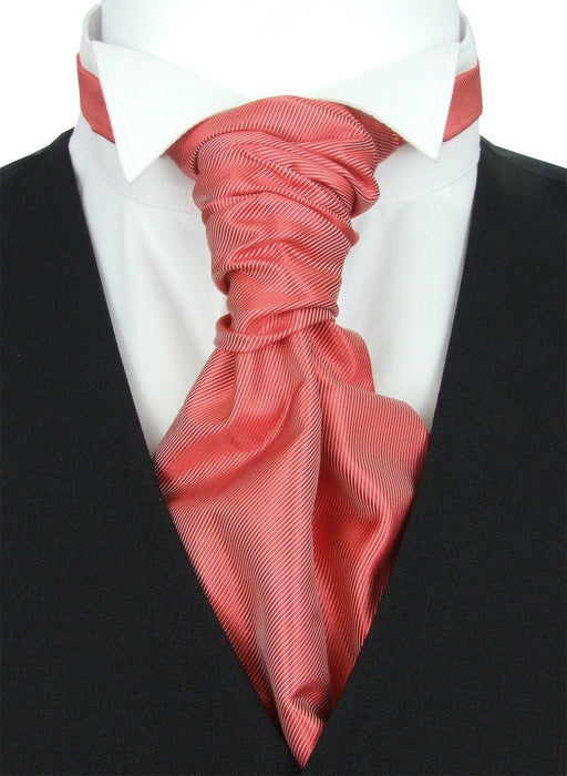 Dark Coral Twill Pre-Tied Wedding Cravat - Wedding