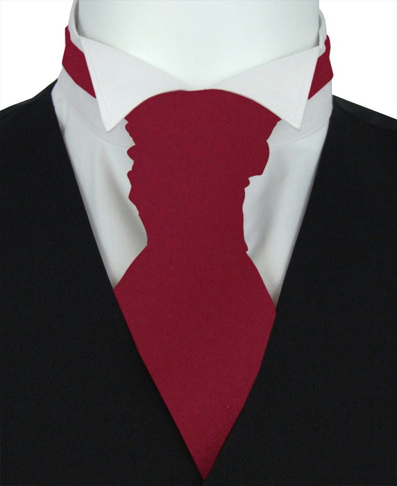 Deep Red Pre-Tied Wedding Cravat - Wedding