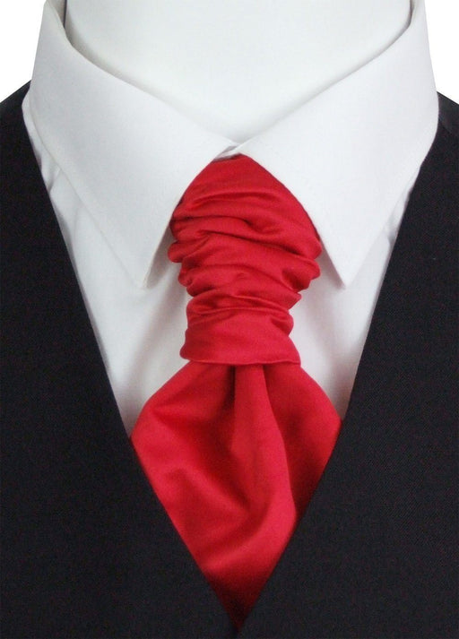 Flame Red Boys Pre-Tied Wedding Cravat - Wedding