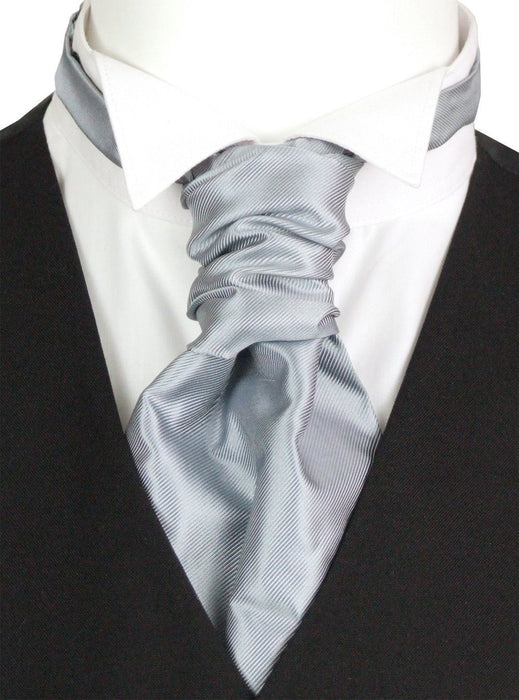 Grey Twill Boys Pre-Tied Wedding Cravat - Wedding
